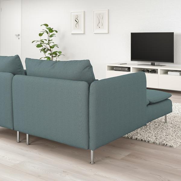 SÖDERHAMN 4-pers. sofa, med chaiselong og åben ende/Finnsta turkis