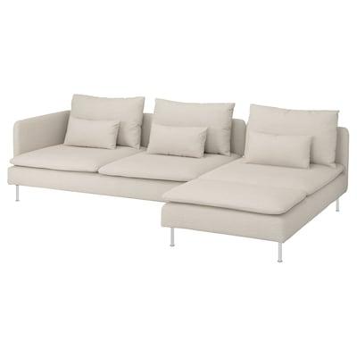 SÖDERHAMN 4-pers. sofa, med chaiselong og åben ende/Gunnared beige