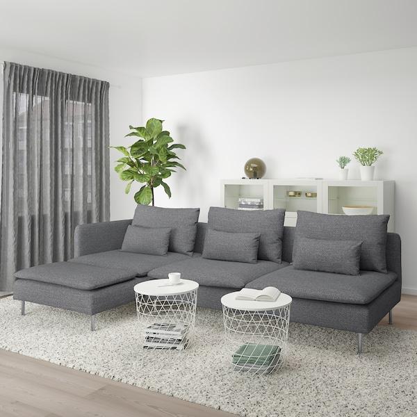 SÖDERHAMN 4-pers. sofa, med chaiselong og åben ende/Lejde grå/sort