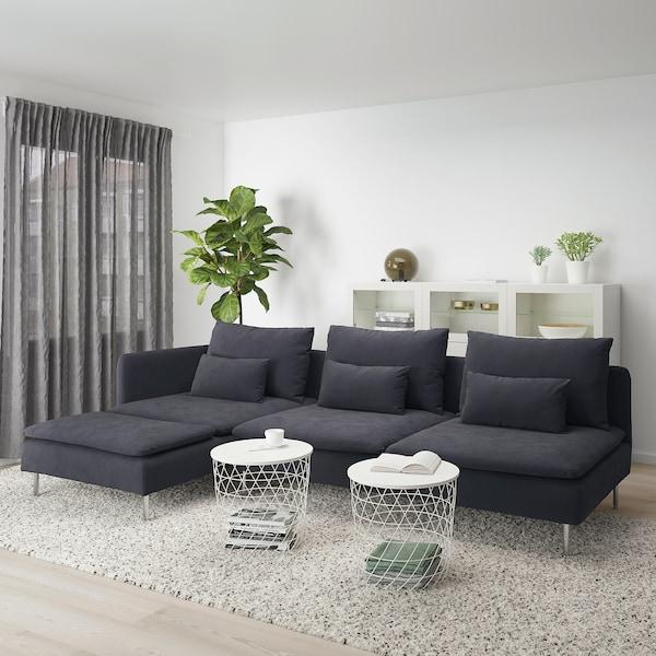 SÖDERHAMN 4-pers. sofa, med chaiselong og åben ende/Samsta mørkegrå