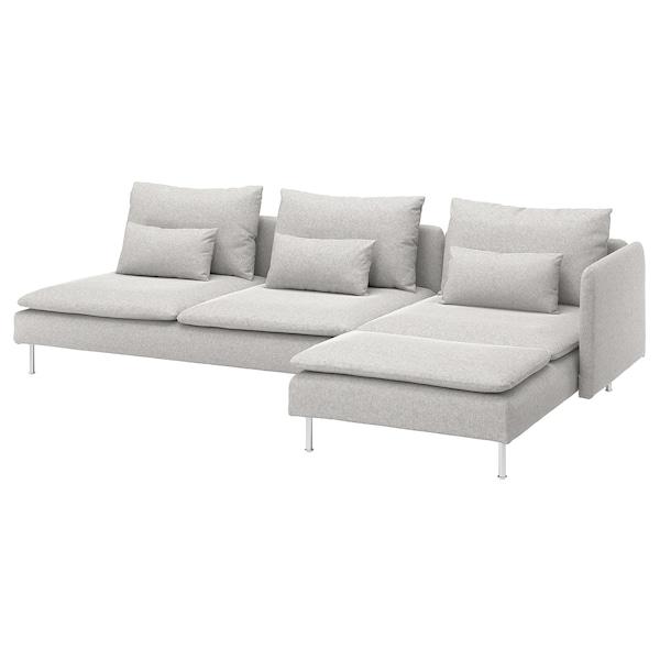 SÖDERHAMN 4-pers. sofa, med chaiselong og åben ende/Tallmyra hvid/sort