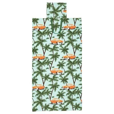 SOLBLEKT badehåndklæde med taske palme-/bilmønster blå 180 cm 100 cm