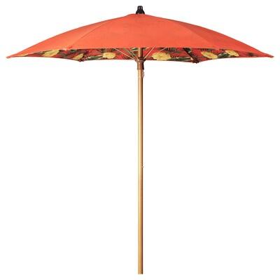 SOLBLEKT parasol blomstermønster orange 215 cm 185 cm 34 mm