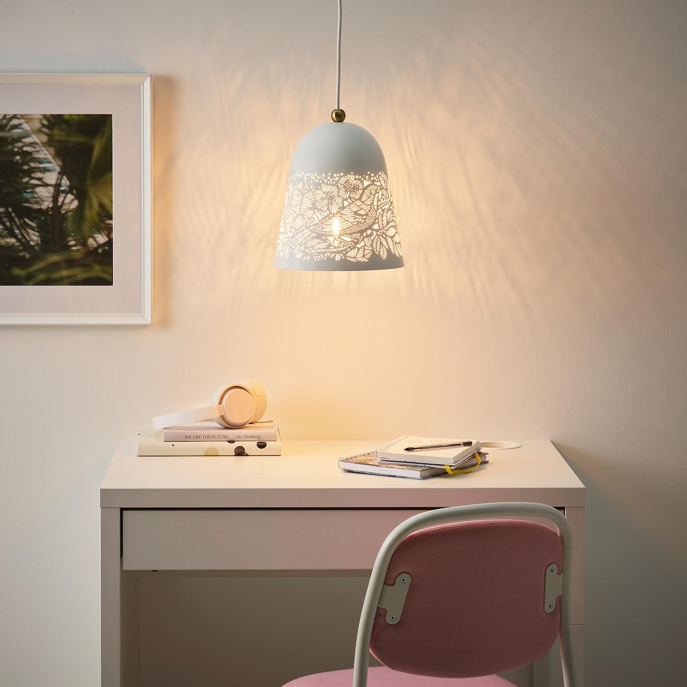 Picture of: Solskur Loftlampe Hvid Messingfarvet Ikea