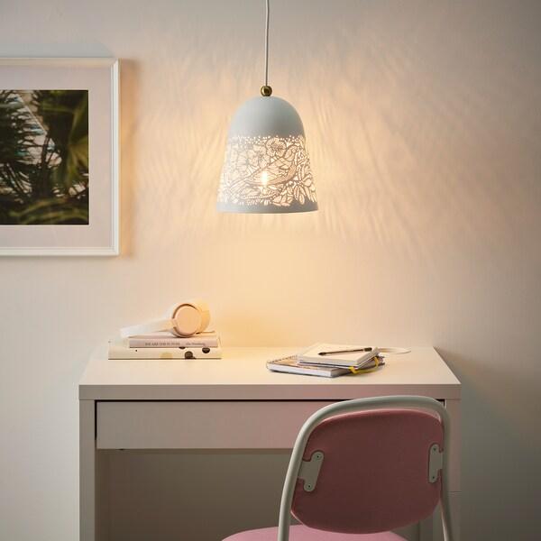 SOLSKUR Loftlampe, hvid/messingfarvet