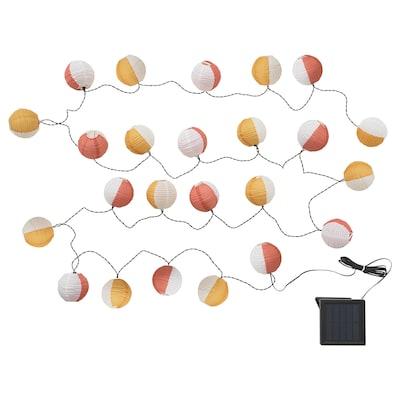 SOLVINDEN LED-lyskæde med 24 pærer udendørs solcelledrevet/globe multifarvet 3.0 m 6 lm 19 cm 4.0 m 0.1 W 7.0 m