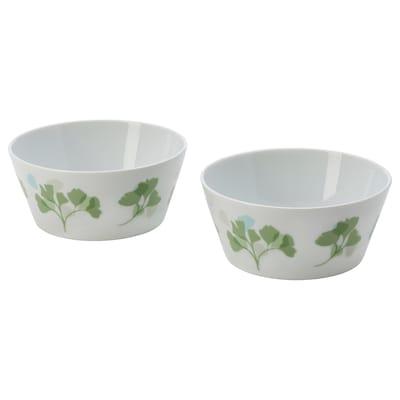 STILENLIG Skål, bladmønster hvid/grøn, 13 cm