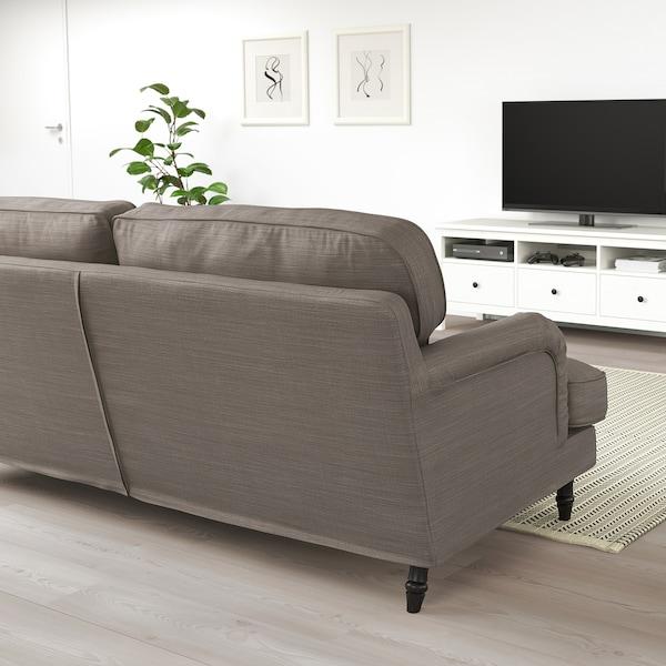 STOCKSUND 3-pers. sofa, Nolhaga gråbeige/sort/træ
