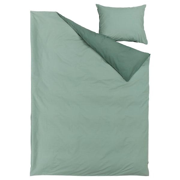 STRANDTALL Dynebetræk og pudebetræk, grågrøn/mørkegrøn, 140x200/60x70 cm