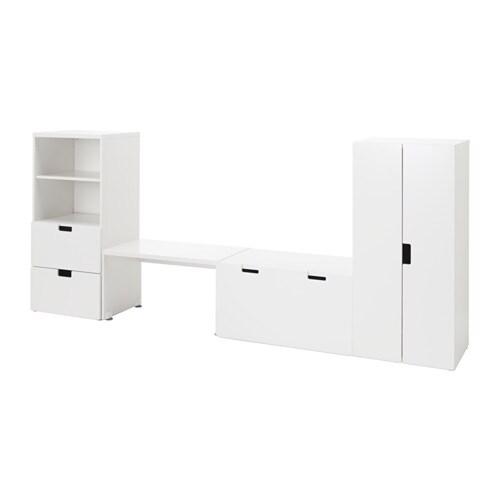 STUVA Opbevaringslosning med b u00e6nk hvid hvid IKEA