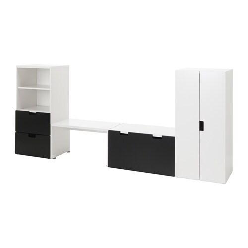 STUVA Opbevaringslosning med b u00e6nk hvid sort IKEA