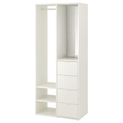 SUNDLANDET Åben garderobe, hvid, 79x44x187 cm