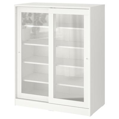 SYVDE Skab med vitrinelåger, hvid, 100x123 cm