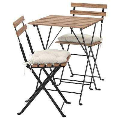 TÄRNÖ Bord + 2 stole, ude, sort/lysebrun bejdse/Kuddarna beige
