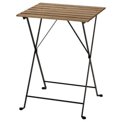 TÄRNÖ Bord, ude, sort/lysebrun med bejdse, 55x54 cm