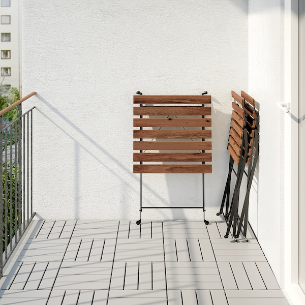 TÄRNÖ bord + 2 stole, ude sort/lysebrun med bejdse