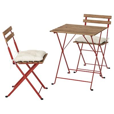 TÄRNÖ bord + 2 stole, ude rød/lysebrun bejdse/Kuddarna beige