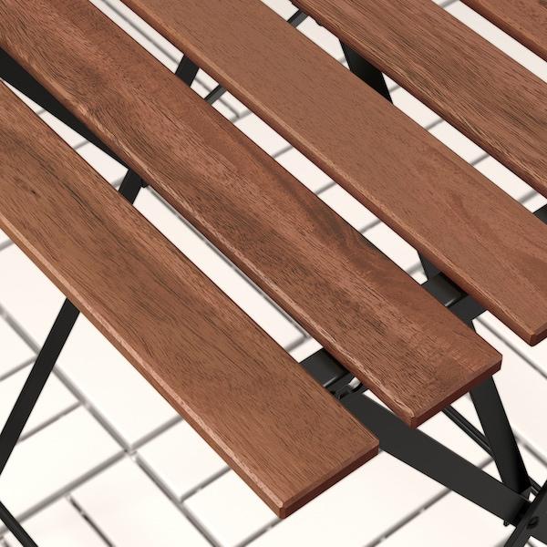 TÄRNÖ bord + 2 stole, ude sort/lysebrun bejdse/Kuddarna grå