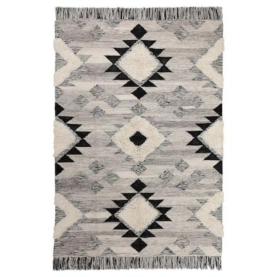 TANNISBY Tæppe, fladvævet, håndlavet/grå sort, 160x230 cm