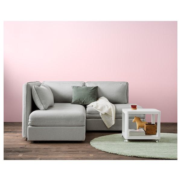 TINGBY Sidebord med hjul, hvid, 50x50 cm
