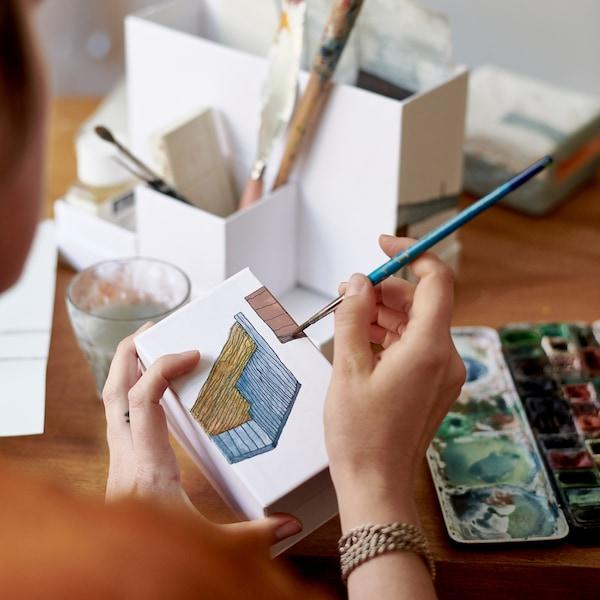 TJENA Skrivebordsopbevaring, hvid, 18x17 cm