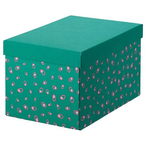 TJENA opbevaringskasse med låg grøn prikket 25 cm 18 cm 15 cm