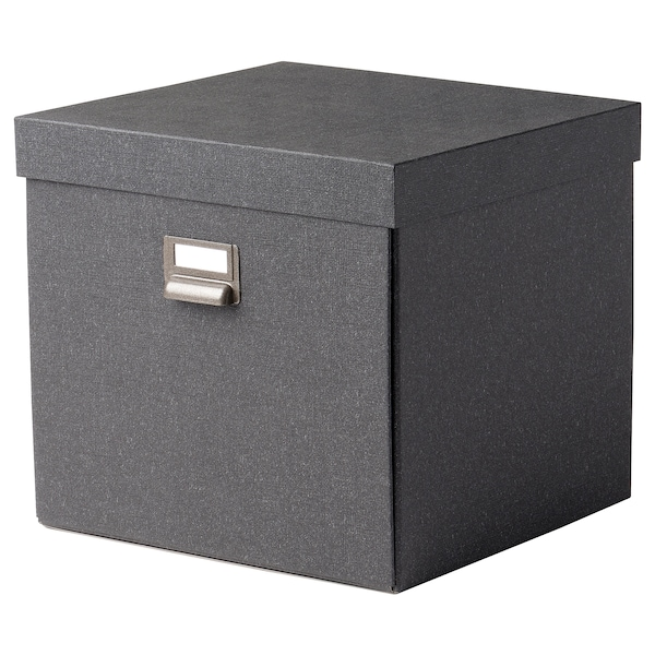 TJOG Opbevaringskasse med låg, mørkegrå, 32x31x30 cm