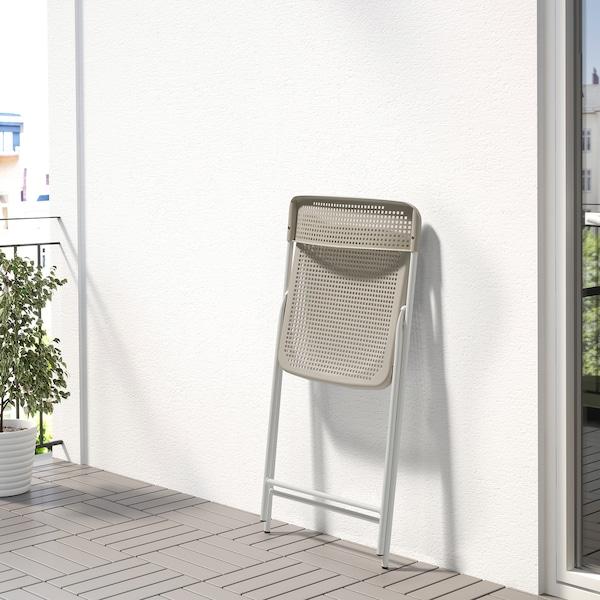 TORPARÖ Stol, inde/ude, kan klappes sammen hvid/beige