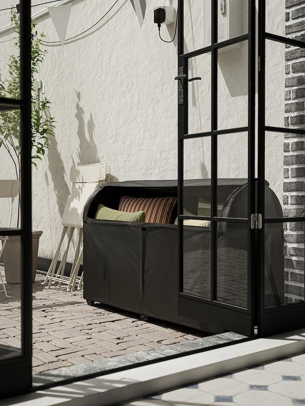 TOSTERÖ Opbevaringsboks, ude, sort, 129x44x79 cm