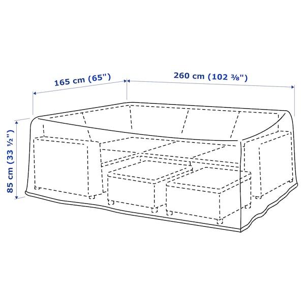 TOSTERÖ Overtræk til havemøbler, sofa/sort, 260x165 cm