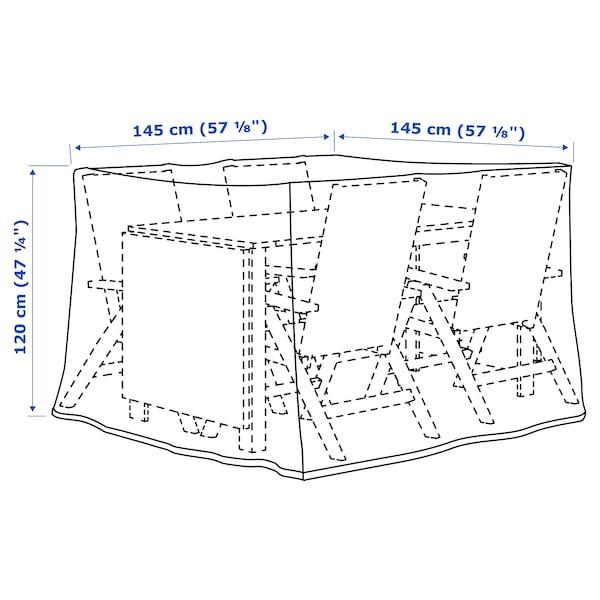 TOSTERÖ Overtræk til møbelsæt, spisebordssæt/sort, 145x145 cm