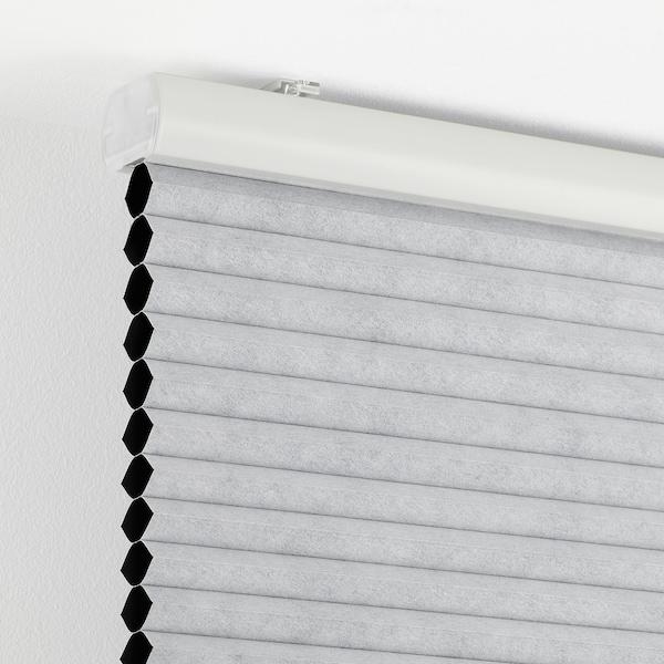 TRIPPEVALS Mørklægningsplissegardin, lysegrå, 90x210 cm