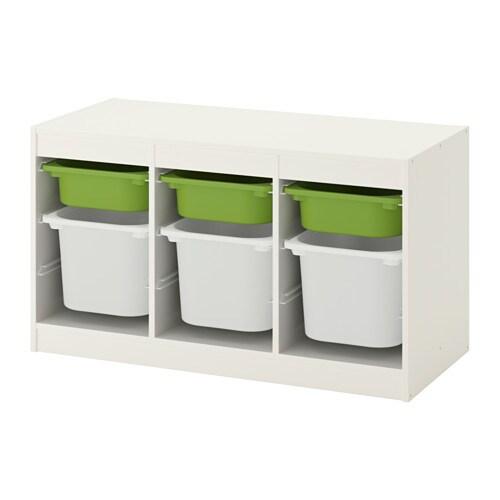 Topnotch TROFAST Opbevaringskombination med bokse - hvid/grøn - IKEA QT87