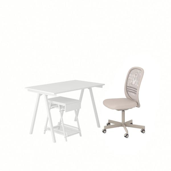 TROTTEN / FLINTAN Skrivebords- og opbevaringskombina, og drejestol hvid/beige