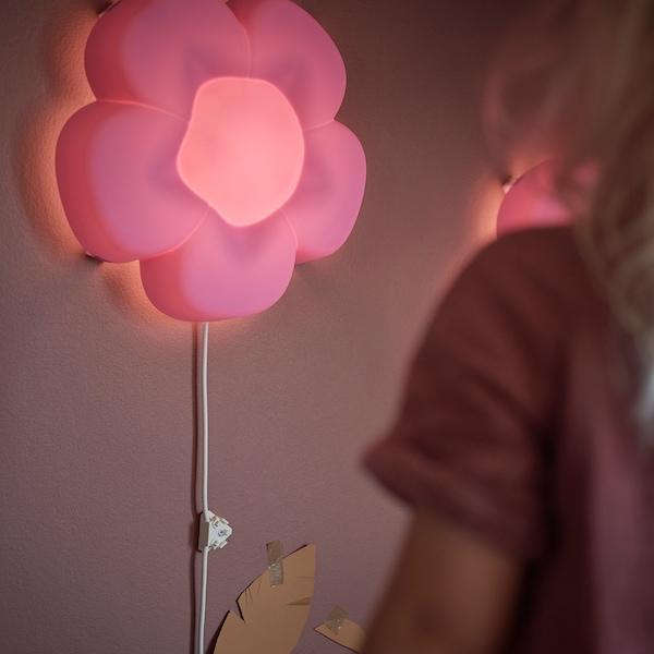 UPPLYST LED-væglampe, blomst lilla