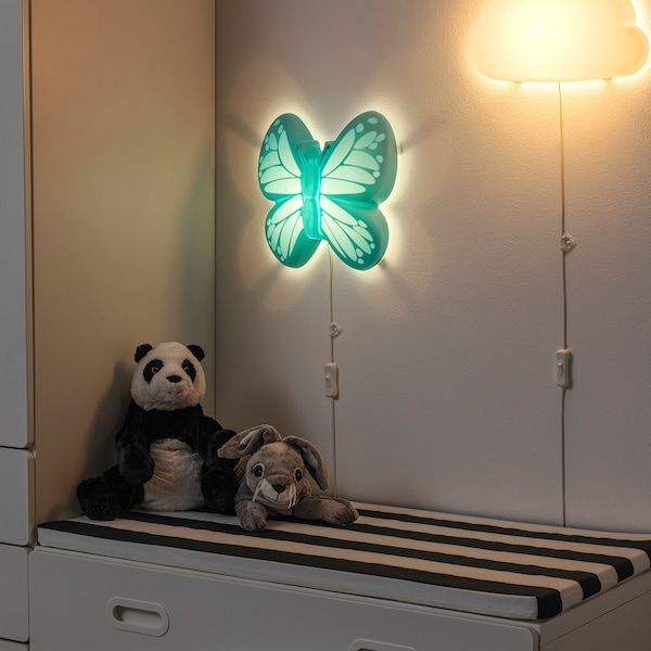 UPPLYST LED-væglampe, sommerfugl lyseblå