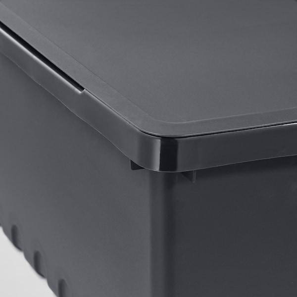 UPPSNOFSAD Opbevaringsboks med låg, sort, 35x25x14 cm/9 l