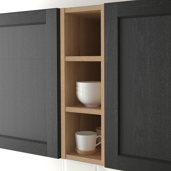VADHOLMA Åben opbevaring, brun/ask med bejdse, 20x37x60 cm