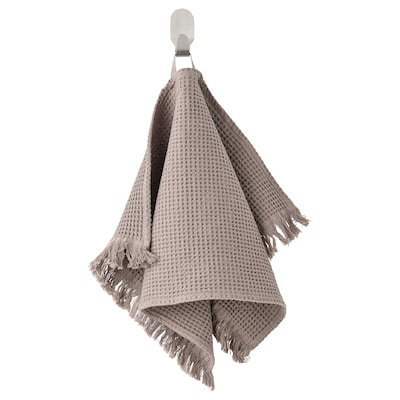 VALLASÅN Gæstehåndklæde, lysegrå/brun, 30x50 cm