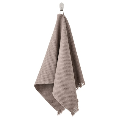 VALLASÅN Håndklæde, lysegrå/brun, 50x100 cm