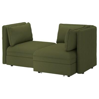 VALLENTUNA 2-pers. modulopb sofa sovesofa, og opbevaring/Orrsta olivengrøn