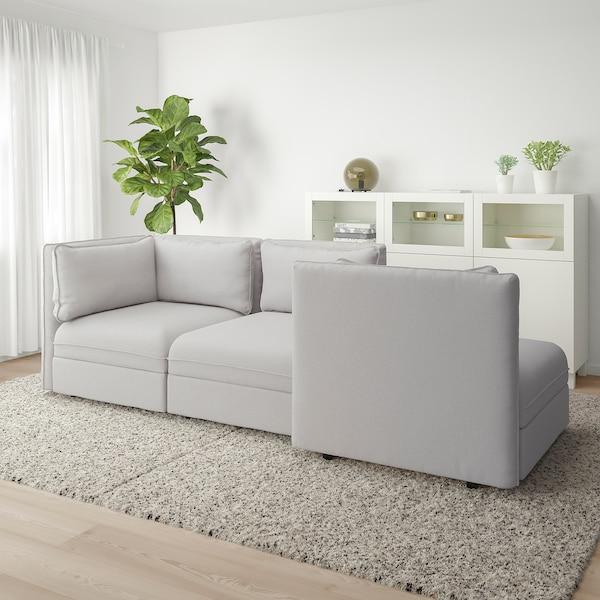 VALLENTUNA 3-pers. modulopbygget sofa med åben ende og opbevaring/Orrsta lysegrå 273 cm 93 cm 84 cm 45 cm