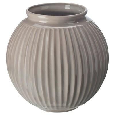 VANLIGEN Vase, grå, 18 cm