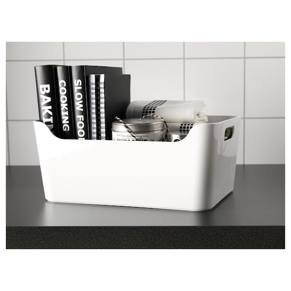 VARIERA Boks, hvid, 34x24 cm