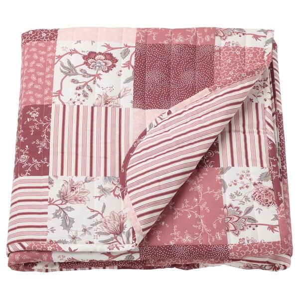 VÅRRUTA Sengetæppe, hvid/pink, 260x250 cm