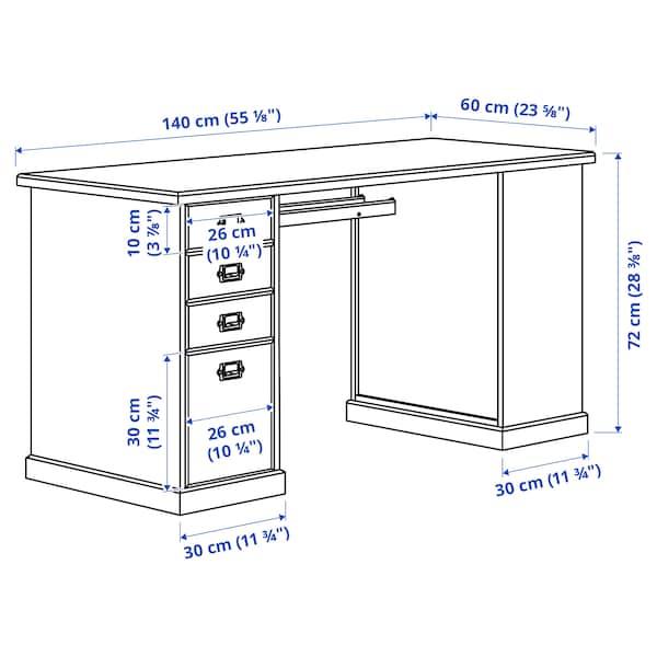 VEBJÖRN/MULLFJÄLLET / BILLY/OXBERG Skrivebords- og opbevaringskombina, og drejestol beige/grå/hvid