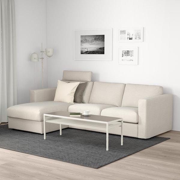 VIMLE 3-pers. sofa med chaiselong, med nakkepude/Gunnared beige