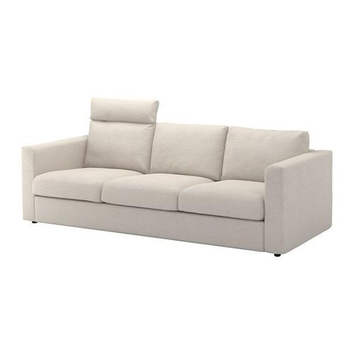 Massivt VIMLE 3-pers. sofa - med nakkepude/Gunnared beige - IKEA SH86