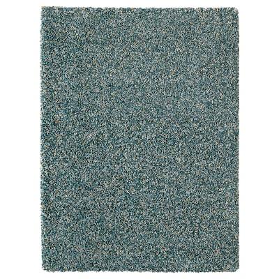 VINDUM Tæppe, lang luv, blågrøn, 133x180 cm
