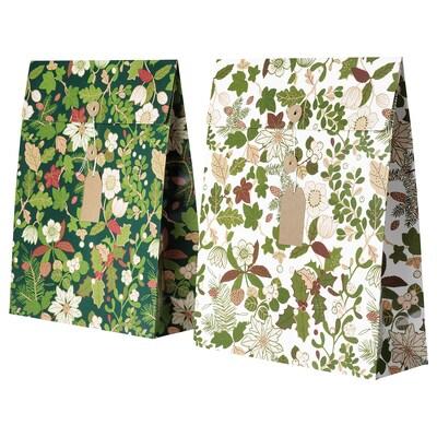 VINTER 2020 Gavepose, julerosemønster grøn, 33x42 cm/9 l